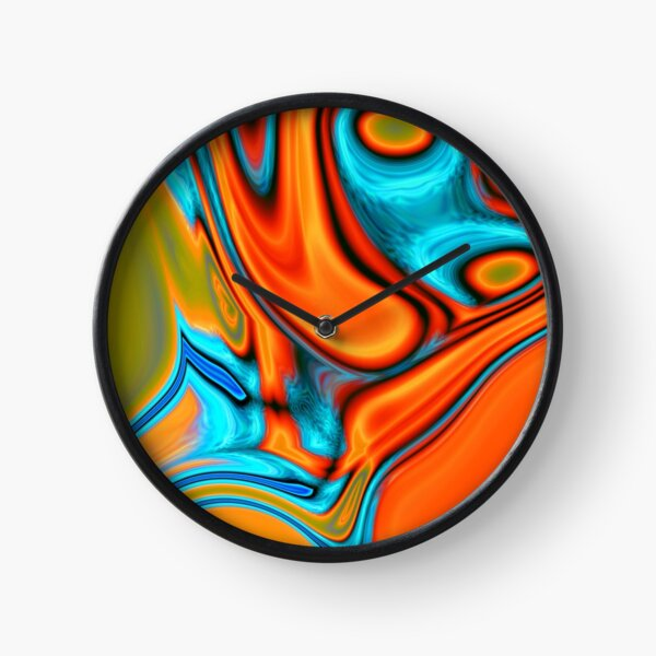 vivid modern Southwest hipster turquoise orange swirls Clock