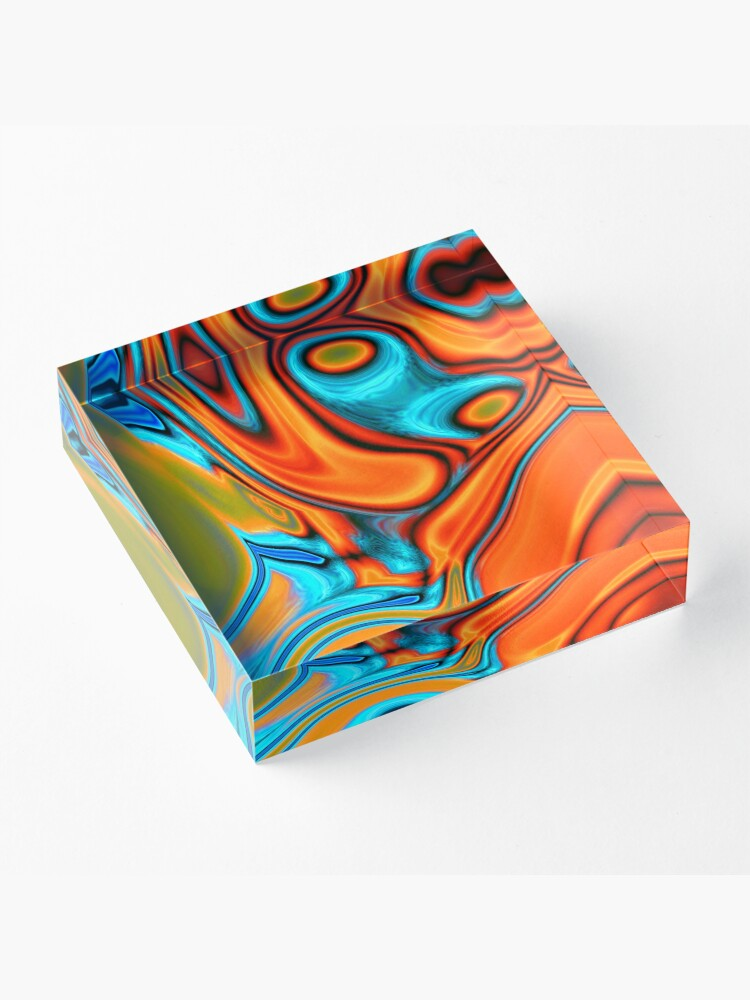 Alternate view of vivid modern Southwest hipster turquoise orange swirls Acrylic Block