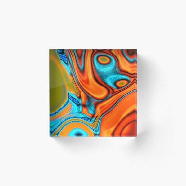 vivid modern Southwest hipster turquoise orange swirls Acrylic Block