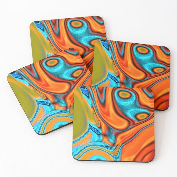 vivid modern Southwest hipster turquoise orange swirls Coasters (Set of 4)