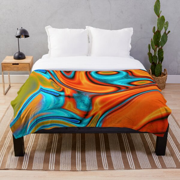 vivid modern Southwest hipster turquoise orange swirls Throw Blanket