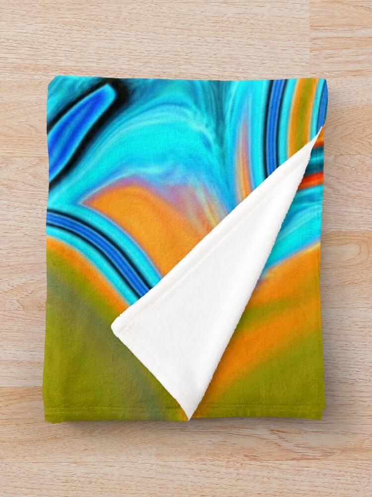 Alternate view of vivid modern Southwest hipster turquoise orange swirls Throw Blanket