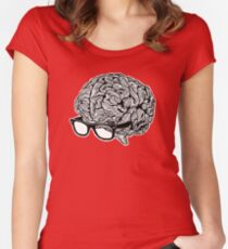 Brain with Glasses Women's Fitted Scoop T-Shirt