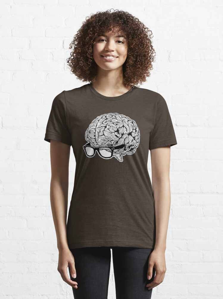 Alternate view of Brain with Glasses Essential T-Shirt