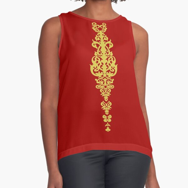 Queen Embroidery Sleeveless Top
