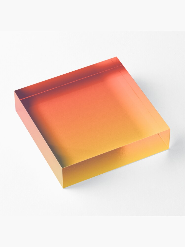 Alternate view of modern trendy abstract Yellow Orange Ombre Acrylic Block