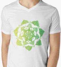Green Gradient Mandala Mens V-Neck T-Shirt