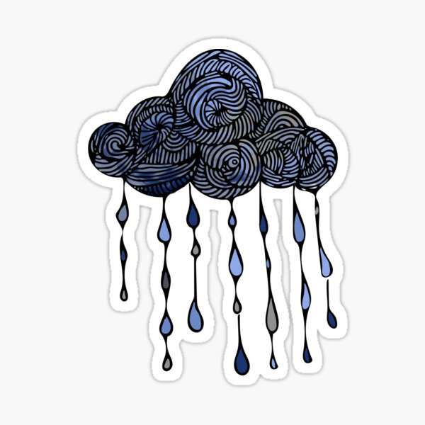 Swirly Raindrops Sticker