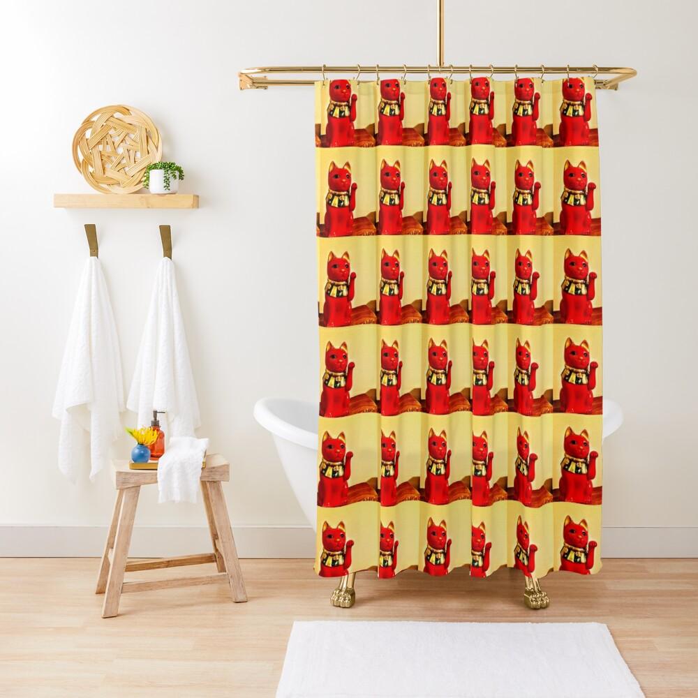 Lucky Cat - Maneki Neko - Cat Lovers - Good Luck Gift  Shower Curtain