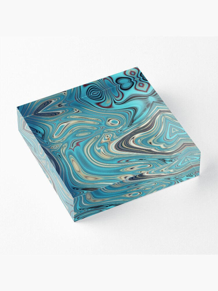 Alternate view of abstract beach marble pattern teal turquoise swirls Acrylic Block