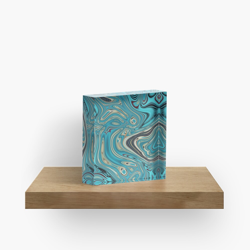 abstract beach marble pattern teal turquoise swirls Acrylic Block