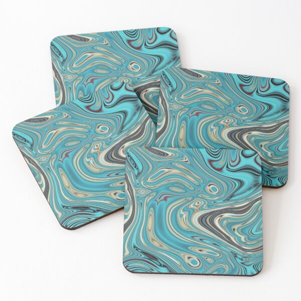 abstract beach marble pattern teal turquoise swirls Coasters (Set of 4)