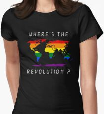 Wheres the revolution colorfull Womens Fitted T-Shirt