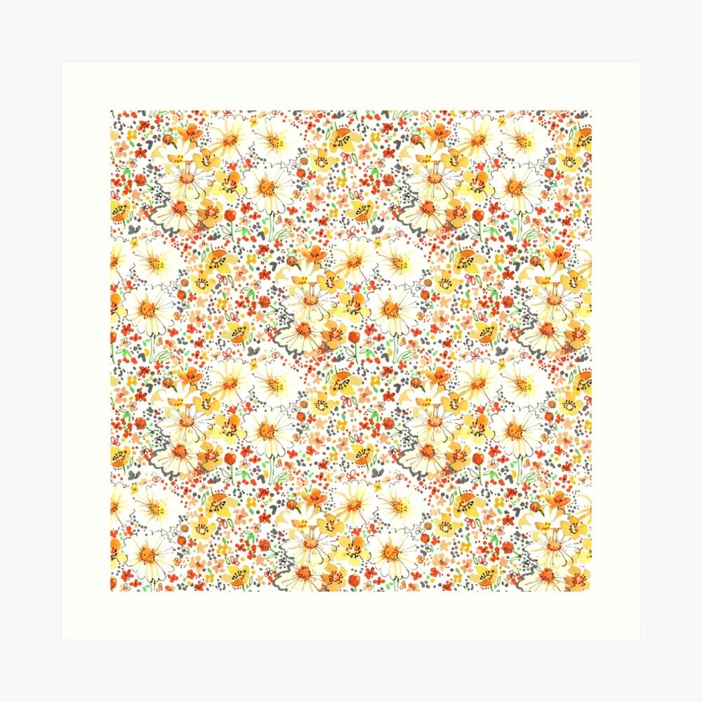 Patrón de flores silvestres daisy vintage Lámina artística