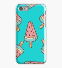 Ice cream, watermelon popsicle dessert food vector seamless pattern. ice milk gelato, frozen yogurt sweet iPhone Case/Skin