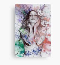 The Withering Spring: Wine (nude tattoo woman, magnolia street art drawing) Metal Print