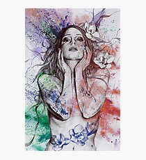 The Withering Spring: Wine (nude tattoo woman, magnolia street art drawing) Photographic Print
