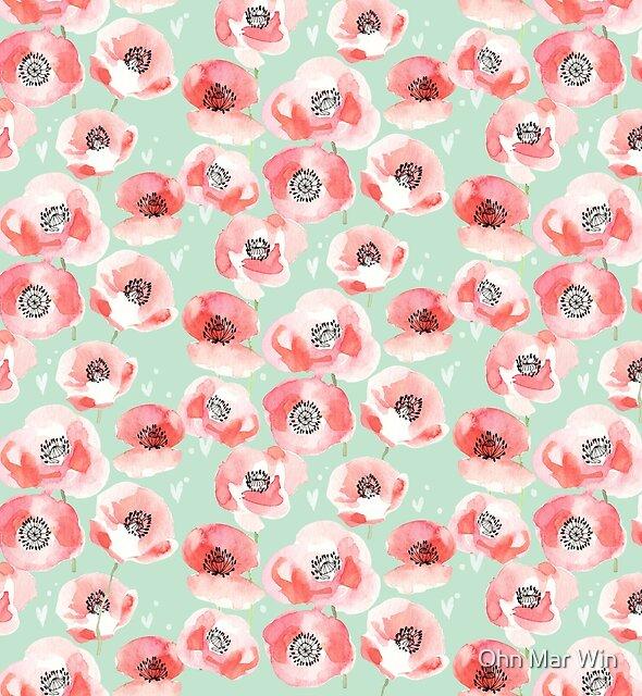 Watercolour poppy pattern by Ohn Mar Win