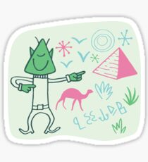 Globetrotter from outer space visiting the Pyramids. Sticker