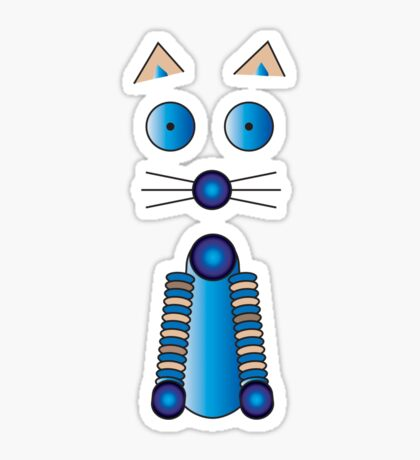 Blue Cat Illustration Sticker