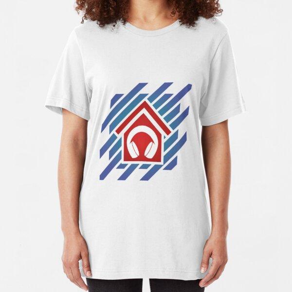 House Music with headphones - colored Slim Fit T-Shirt