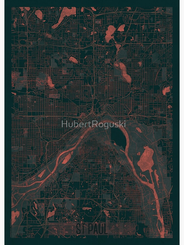 St Paul Map Red by HubertRoguski