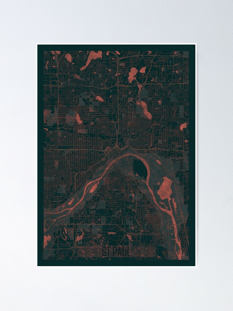 Alternate view of St Paul Map Red Poster