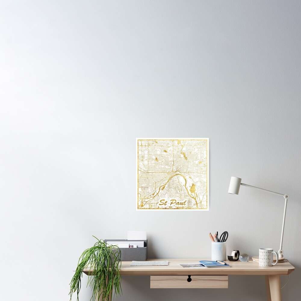 St Paul Map Gold Poster
