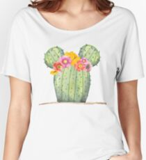 Mouse Cactus with Floral Crown Relaxed Fit T-Shirt