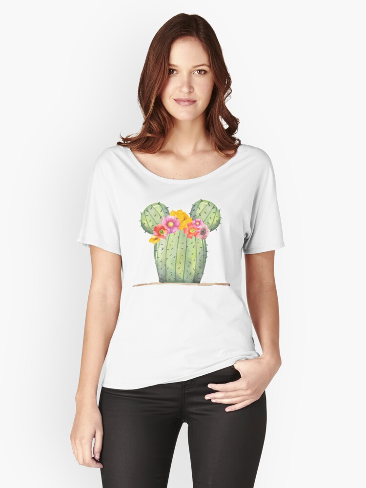 Mouse Cactus with Floral Crown Women's Relaxed Fit T-Shirt Front