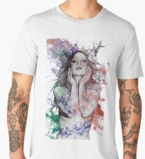 The Withering Spring: Wine (nude tattoo woman, magnolia street art drawing) Men's Premium T-Shirt