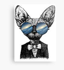 Galaxy Cat Sphynx Sunglass  Metal Print