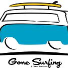 VW Bus Van Teal Gone Surfing  by Frank Schuster
