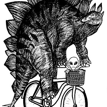 Stegosaurus Alien Bicycle by toshibung