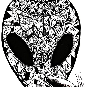 Alien Punk Aztec Art by toshibung