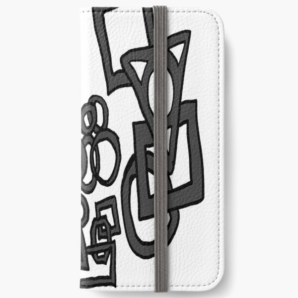 Doodle circles, squares, rectangles charcoal black and white pattern iPhone Wallet