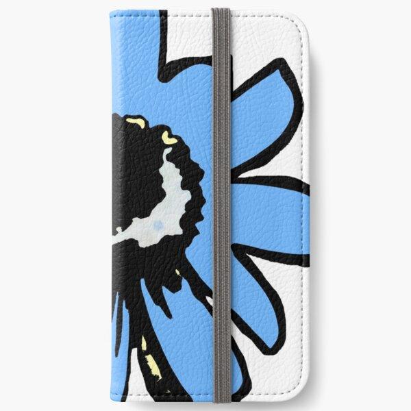 Retro pretty daisy blue black floral iPhone Wallet