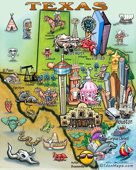 'Fun Texas Cartoon Map' Poster by Kevin Middleton on cartoon map of philly, cartoon map of wyoming, cartoon map of corpus christi, cartoon map of sweden, cartoon map of rhode island, cartoon map of dominican republic, cartoon map of seattle washington, cartoon map of usa, cartoon map of u.s, cartoon map of bay area, cartoon map of fort worth, cartoon map of bronx, cartoon map of guam, cartoon map of haiti, cartoon map of caribbean, cartoon map of lexington, cartoon map of detroit, cartoon map of baltimore, cartoon map of burbank, cartoon map of ri,