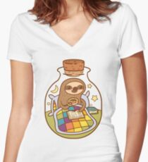 Sloth in a Bottle Women's Fitted V-Neck T-Shirt