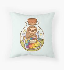 Sloth in a Bottle Throw Pillow