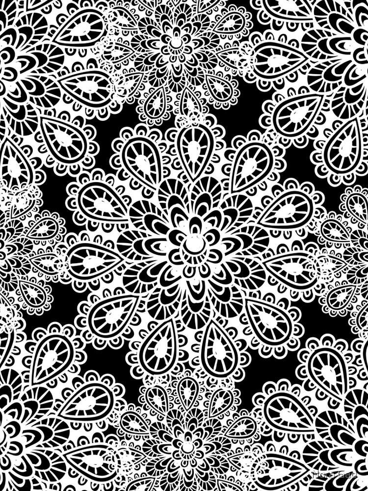 black and white Mandala by NoraMohammed