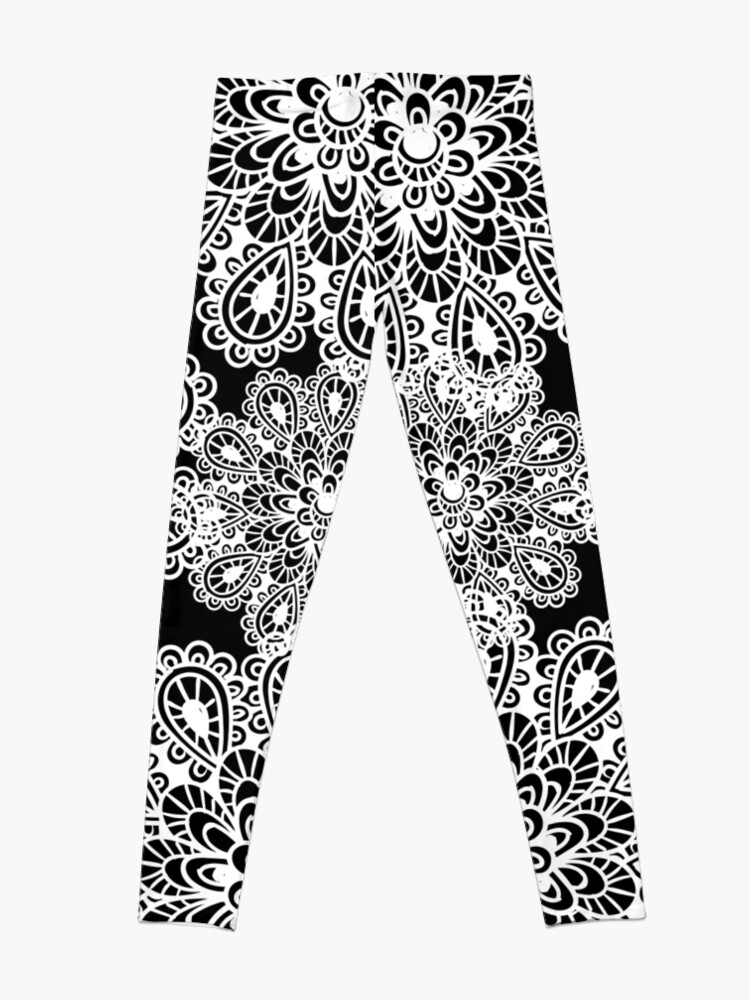 Alternate view of black and white Mandala Leggings