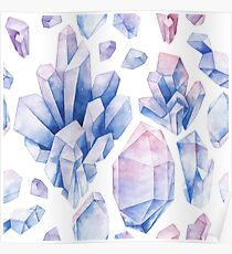 Watercolor pastel colored crystals Poster