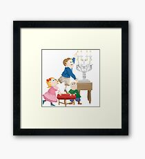 Naughty Children Playing with Fire Framed Print