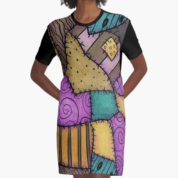 Patchwork Scraps Graphic T-Shirt Dress