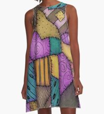 Patchwork-Schrotte A-Linien Kleid
