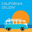 Hippie Surfer Split Window Bus California Cruzing Van by Frank Schuster