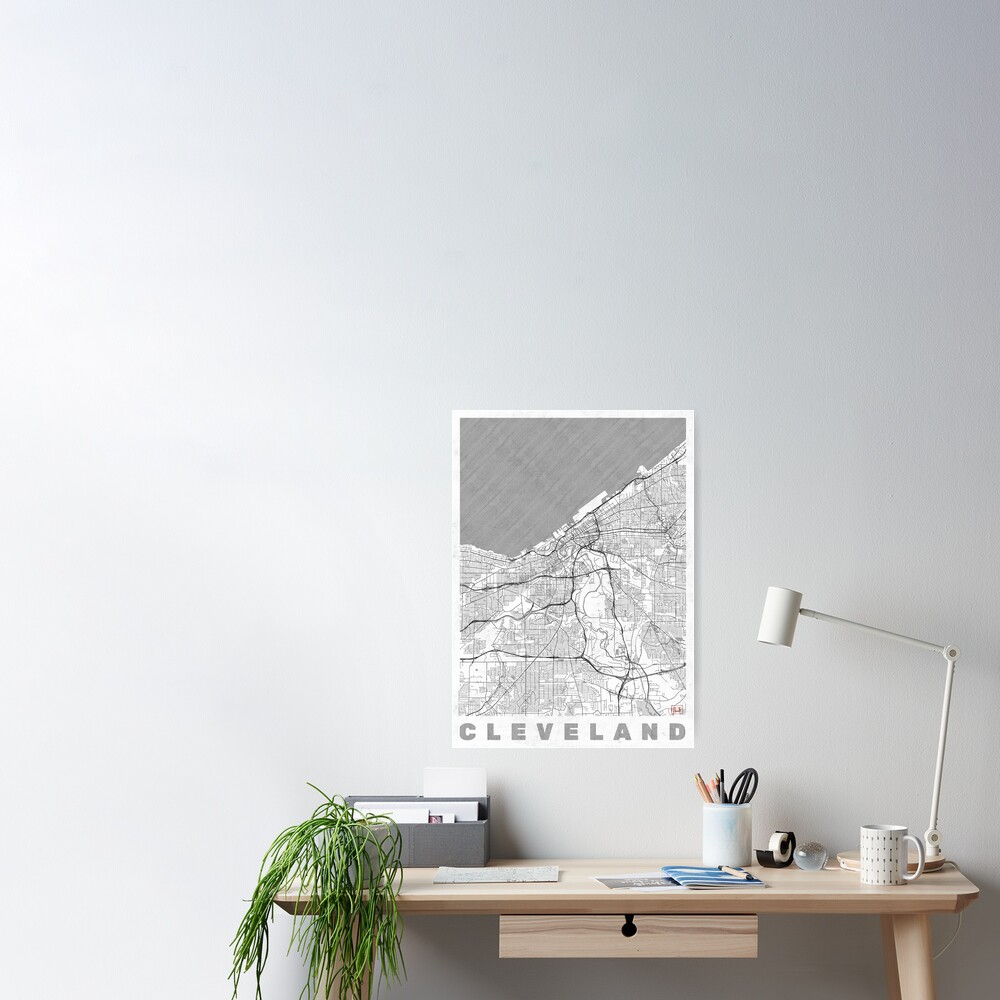 Cleveland Map Line Poster