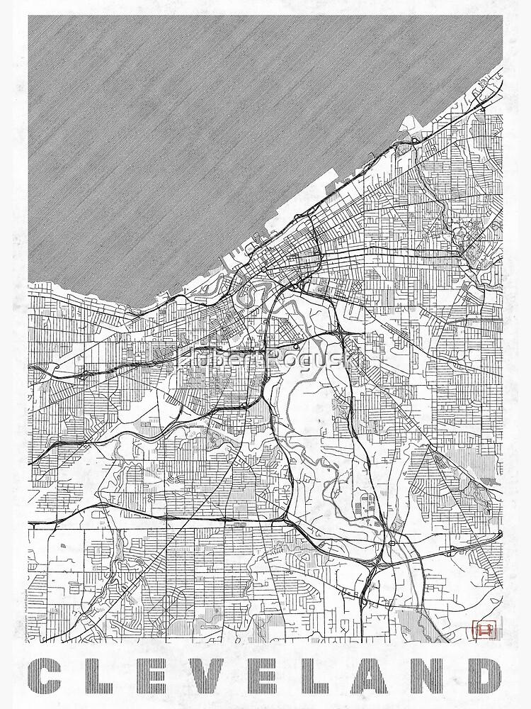 Cleveland Map Line by HubertRoguski