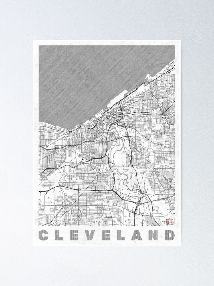Alternate view of Cleveland Map Line Poster